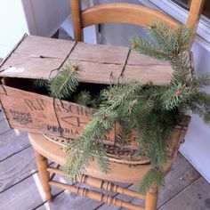 A primitive porch chair