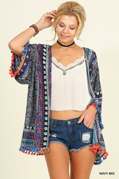 We have mad love for this kimono!! It has a boho print, which we love! Plus it has an amazing fringe/tassel trim! This kimono will give any plain outfit the kick it needs!!  Hand Wash Cold Wash Imported 65% Cotton  35% Polyester  Size Fits:Small- 0-4; Medium- 6-8; Large- 10; Size Fits: XL- 12-14; 1X- 16-18; 2X 20-22