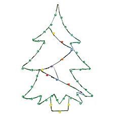 image of Vickerman 48-Inch Pre-Lit Wire Christmas Tree Outdoor Decoration with Multicolor Lights