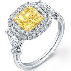 """Uneek Fine Jewelry - Cushion-Cut Yellow Diamond Engagement Ring with Double Micropave Halo, Trillion-Cut Diamond Sidestones, and """"Tri-Fluted"""" Shank, in Platinum and 18K Yellow Gold. Handcrafted in Los Angeles, CA     Style # LVS814 - UneekJewelry.com"""