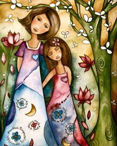 Mother and daughter, canvas by Claudia Tremblay Canadá (de Amos, Quebec