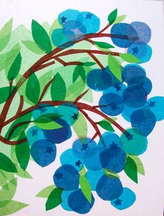 Blueberries - tissue paper - overlap