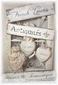 ❤~*Love these fonts & hearts* Shabby Chic Crafts, Shabby Chic Decor, French Decor, French Country Decorating, Vintage Shabby Chic, Vintage Love, Manualidades Shabby Chic, Linens And Lace, Rose Cottage