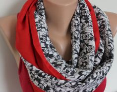 Minnie Mouse Scarf, Minnie Mouse Printed Scarf,Minnie Mouse Scarf,Red Black White Loop Scarf,Red linen Infinity Scarf