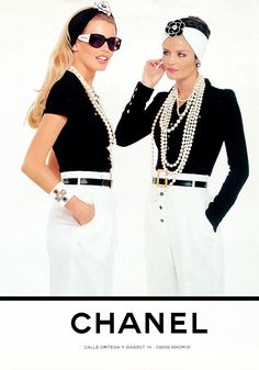 Claudia and Helena for Chanel, by Karl Lagerfeld, 1990 www.fashion.net