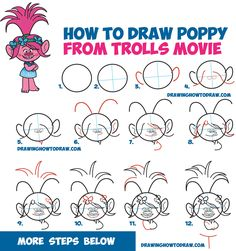 How to Draw Poppy from the Dreamworks Trolls Movie - Easy Step by Step Drawing Tutorial for Kids