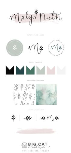 Malyn Nuth Branding Style Board by Big Cat Creative | Get your own at www.bigcatcreative.com | | Brand Design | Branding Design | Brand Design Inspiration | Modern Brand Design | Logo Design Inspiration | Brand Identity Design | Brand Identity Inspiration | Brand Mood Board | Brand Style Board | Branding Ideas | Feminine Brand Design | Feminine Logo Design | Organic Brand Design | Pastel Colors Logo Design