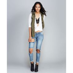 Hole Lotta Fun Cuffed Skinny Jeans ($39) ❤ liked on Polyvore