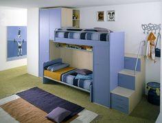 Ergonomic Kids Bedroom Designs for Two Children from LineaD Kids Bedroom Designs, Kids Room Design, Bed Design, Bedroom Loft, Home Decor Bedroom, Cool Bunk Beds, Room Interior, Interior Design, Bedroom Furniture