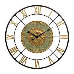 Kate Gold and Green Metal Clock | Kirklands