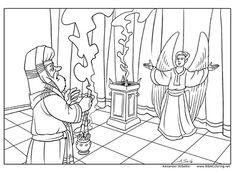 Christmas story. Zechariah and angel (Luke 1:5-25). More in http://biblecoloring.net/