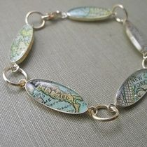As Seen in Southern Lady Magazine Holiday Gift Guide.  Antique Map Bracelet by DLK Designs.