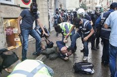 Excessive use of police force against unarmed protestors. Sunday, June 16, 2013. Image becomes cover of NY Times on the next day.