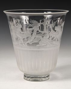 Orrefors Simon Gate (1883-1945) vase with a frieze of etched frolicking nude figures, auction est $1800-2400