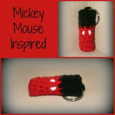 Crochet Mickey Mouse inspired keychain chapstick holder