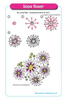 Draw Flower Patterns Snowflower by Linda Rea - Visit the post for more. Zentangle Drawings, Doodles Zentangles, Doodle Drawings, Flower Drawings, Doodle Patterns, Zentangle Patterns, Flower Patterns, Doodle Borders, Zantangle Art
