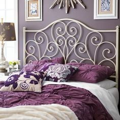 For those who heart vintage-style headboards: Our wrought iron design is accented with heart-shaped scrolls, graceful curves and traditional finials, then finished with hand-applied color for an antiqued—dare we say heart-warming—effect. Wrought Iron Headboard, Antique Headboard, White Headboard, French Bedroom Decor, Gold Bedroom, Bedroom Vintage, Dream Bedroom, Master Bedroom, Guest Room Office