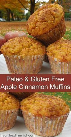 Paleo and Gluten Free Apple Cinnamon Muffins made with coconut flour, dairy free Gluten Free Apple Cinnamon Muffins (Paleo and Dairy Free) - These gluten free apple cinnamon muffins are so delicious! My family enjoyed them so much they didn't even Paleo Dessert, Dessert Sans Gluten, Gluten Free Desserts, Dairy Free Recipes, Paleo Recipes, Paleo Food, Paleo Dairy, Dessert Pizza, Gourmet Desserts