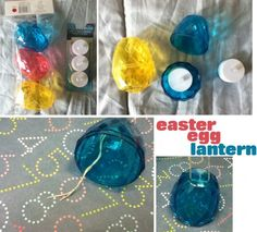 DIY Easter Egg Lantern from the Dollar Store. Cute and colorful.
