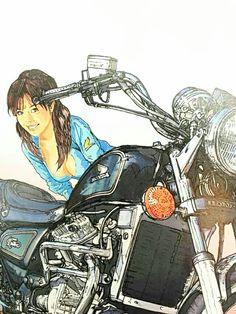 東本 昌平 Anime Motorcycle, Motorcycle Posters, Honda Cycles, Japanese Art Styles, Biker Love, Vintage Cafe Racer, Bike Illustration, Cafe Racer Girl, Retro Bike