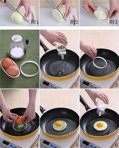 Un aro de cebolla te ayuda a hacer huevos fritos perfectos, y además le da un poco de sabor.