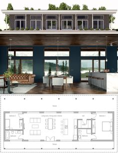 House Plan Home Plan, Single Story House Plan Pin: 897 x 1167 Narrow House Plans, Modern House Plans, Small House Plans, Narrow House Designs, Free House Plans, Casas Containers, Long House, Rest House, Rustic Home Design