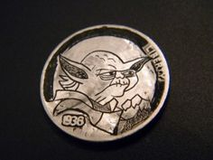 Hobo Yoda obv Hobo Nickel, Antique Coins, Buffalo, Carving, Bling, Personalized Items, Antiques, Antiquities, Jewel