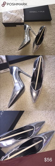 """Kendall+ Kylie stiletto heel. Size 7 New in box. Authentic. In perfect new condition. True to size 7. 4"""" high heels. Silver. No trades. Kendall & Kylie Shoes Heels"""