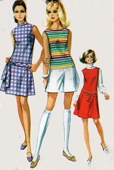 1960s Vintage Sewing Pattern Simplicity 8147 Mod Mini Dropped Waist Pantdress or Pantjumper Size 14 B36 UNCUT
