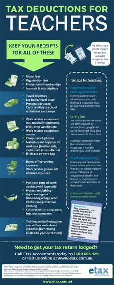 Tax Deductions for Teachers - Infographic of Teacher tax deductions Australia Teacher Organization, Teacher Tools, Teacher Hacks, Teacher Resources, Teacher Stuff, Organization Ideas, Being A Teacher, Learning Organization, Teacher Memes