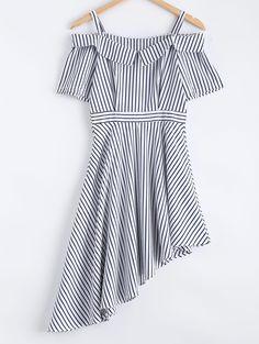 Cute Open Shoulder Striped Asymmetric Dress ==