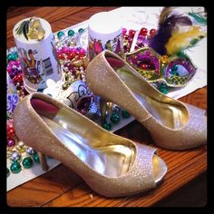 Great prom /Mardi Gras heels!! Sparkly gold heels. Approximately 3 inches high   Open toe   Only wore a few times Anne Michelle Shoes Heels