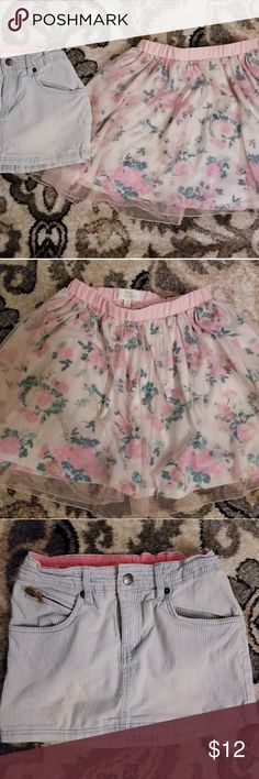 Size 7/8 H&M and Disney Cinderella skirt H&M and Disney Cinderella skirt. H&M skirt: good condition, blue and white striped with pockets. Disney Cinderella skirt: pink and green with light pink lace. Excellent condition Bottoms Skirts