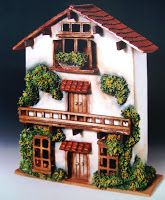 "Artesanías ""Luis"": Fachada ""Luisa"" Clay Houses, Ceramic Houses, Miniature Houses, Doll House Crafts, Home Crafts, Diy And Crafts, Clay Fairy House, Fairy Houses, Bird House Feeder"