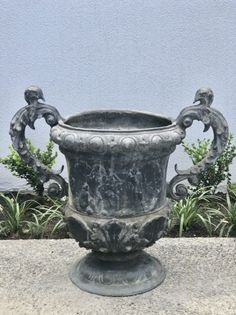 Antique 17th century style lead garden urns