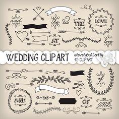 Lorbeer-Clipart Hochzeit, Hochzeit Einladung, digital, Vintage Hochzeits Cliparts, kleine kommerzielle Nutzung, INSTANT DOWNLOAD