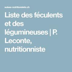 Liste des féculents et des légumineuses | P. Leconte, nutritionniste