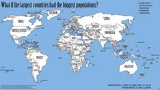 The Wold Map If Large Areas = Large Populations;  the U.S., Yemen, Brazil, and Ireland stay in their original positions