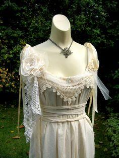 Victorian Wedding Cupcake Dress, Ripped, Torn, Tattered Layered,Corset, Marie Antoinette,boho,Steampunk Fairy, alternative bride. $120.00, via Etsy.