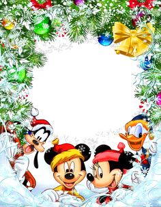 Transparent Christmas Star Frame with Mickey Mouse and Friends