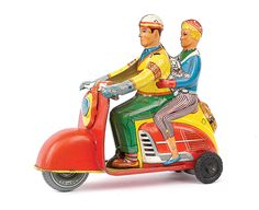 MOTORCYCLE 74: Vintage scooter tin toys