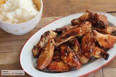 Alitas de pollo con soja, miel y limón. Receta Pollo Chicken, Chicken Wings, Deli, Lunch Recipes, Tapas, Bacon, Appetizers, Dinner, Cooking