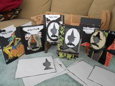 Set of Halloween Cards and Envelopes by BarbarasNook on Etsy