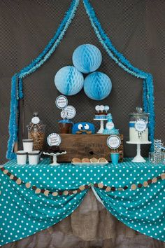 Cookie Monster Themed Birthday Party with So Many Fabulous Ideas via Kara's Party Ideas KarasPartyIdeas.com #cookiemonster #sesamestreet #mi...
