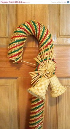 Wheat WEAVINGS Illinois | ON SALE Wheat Weaving Christmas Candy Cane Made of Wheat Straw Door or ...