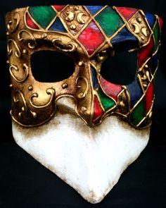 Bauta Venetian mask  in green , red and blue Harlequin design