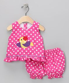 Take a look at this The Princess and the Pauper Pink Polka Dot Chick Top & Bloomers - Infant on zulily today!