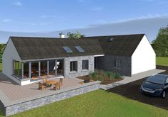 This design has a traditional Irish cottage front with traditional form and vernacular. The rear of the property is where the licence to introduce architectural flair was given, this is evident in … Modern Bungalow Exterior, Bungalow House Design, Modern Bungalow House Plans, Bungalow Ideas, Bungalow Designs, Bungalow Floor Plans, Cottage Design, Irish Cottage, Dormer House