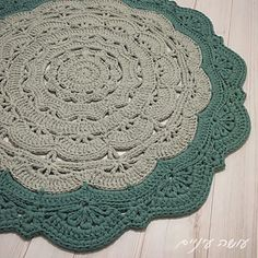 The Large Snorka crochet doily rug pattern is designed for crocheting with t-shirt yarn (though it can also be done with cotton yarn, and turn out as a doily rather then a rug…).