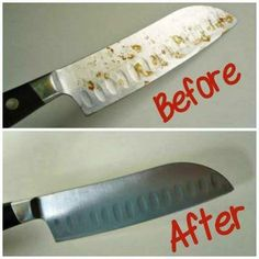 How To Remove Rust Spots On Knives - Barkeepers Friend removed the spots after a few seconds of rubbing